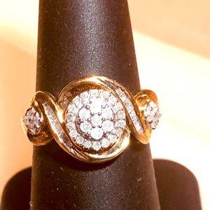 1.02 ctw H-SI Diamond Baguette 14k/925 Ring. Sz 7